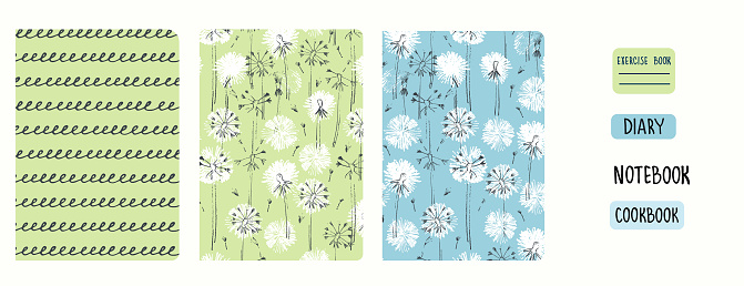 Cover page vector templates with dandelions. Headers isolated and replaceable