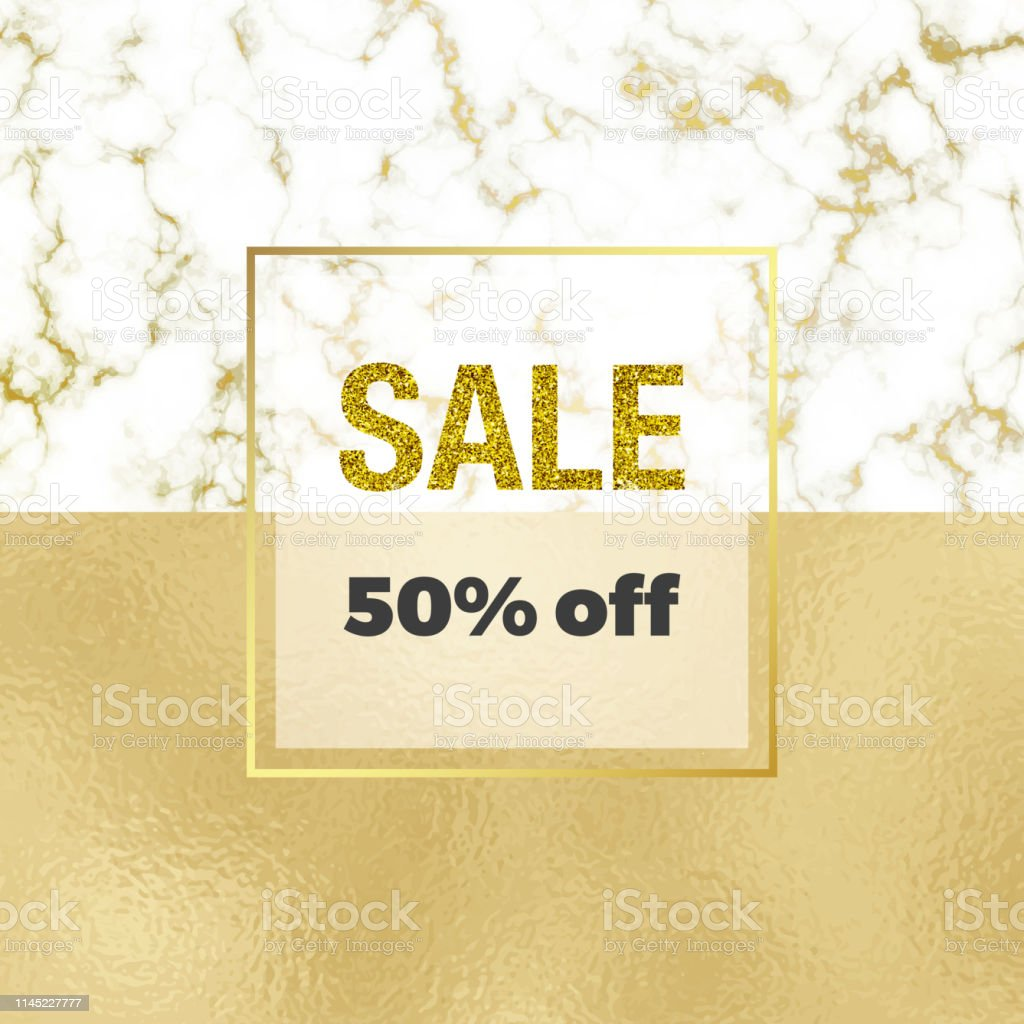 Cover placard sale white, golden marble or stone texture and gold...