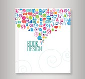 Cover report social network background with media icons