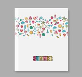 Cover report summer symbols and objects, vector illustration
