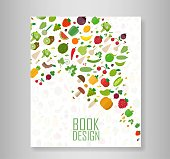 Cover report vegetables and fruits vegetables organic background. Flat vector illustration
