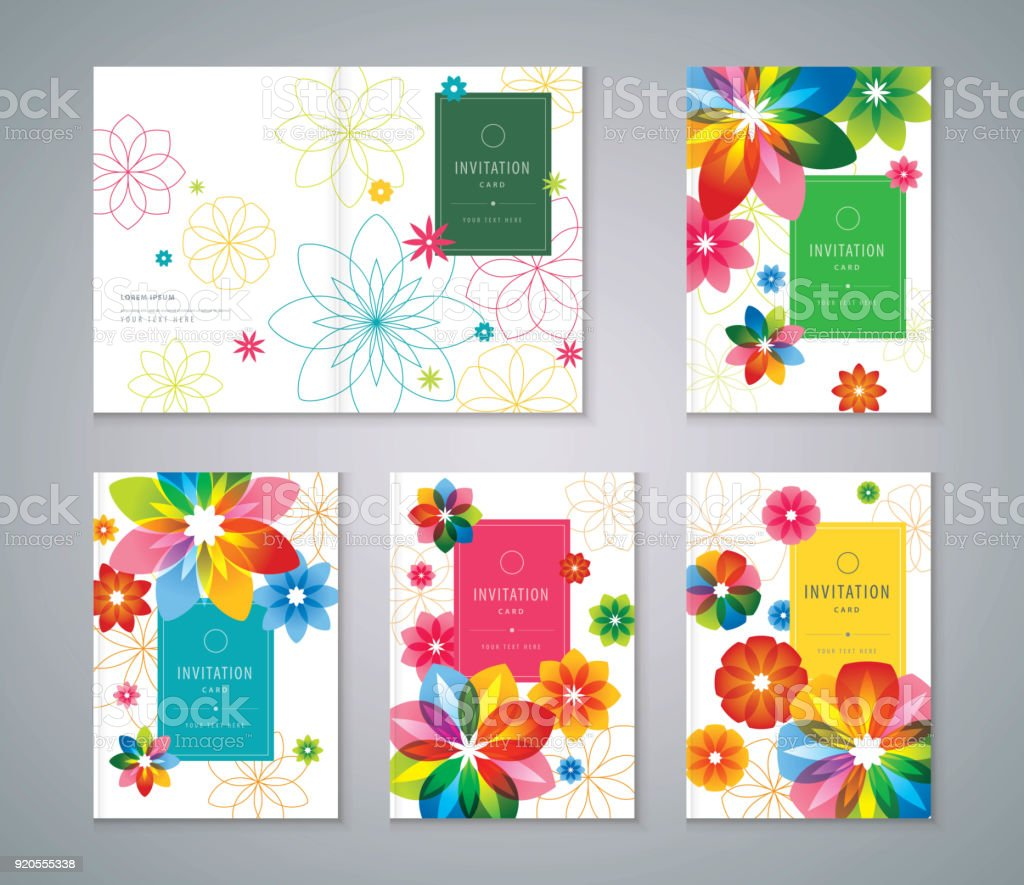 Cover Set flower w vector art illustration
