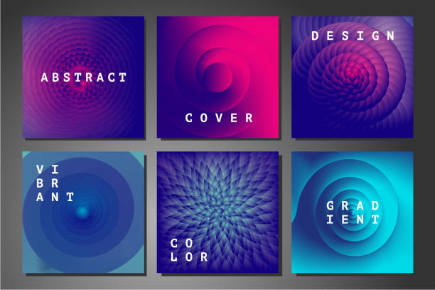 cover set with abstract backgrounds. vector geometry patterns with vibrant color gradient. colorful vortex and spiral. - золотое сечение stock illustrations