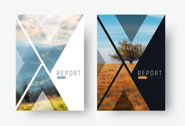 cover template for a report in a minimalistic style with triangular design elements for a photo. - katalog stock illustrations