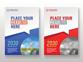 Cover template for books, magazine, brochures, corporate presentations, annual reports, posters, portfolios, banner website etc. Blue and red Format A4