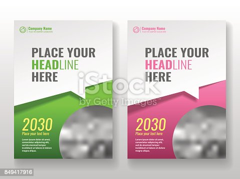 Cover template for books, magazine, brochures, corporate presentations, annual reports, posters, portfolios, banner website etc. Green and pink. Format A4. Vector illustration.