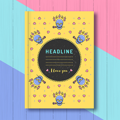 Cover template notebook, diary and notepad. Abstract creative vector design layout with text, colorful skulls, hearts and roses in a thin line art style