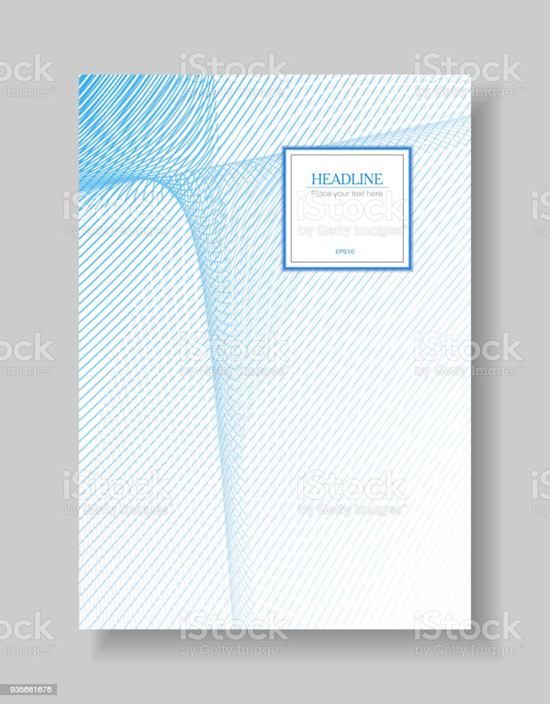 Cover Template Of Line Art Design Abstract Wavy Background Of Light ...