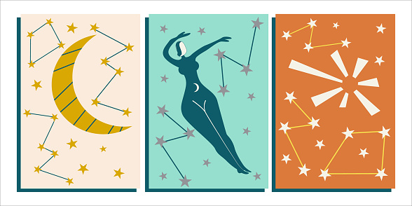Cover template with an abstract female figure, the sun, moon and star constellations. Divination and astrology, a woman in the sky. Vector illustration in a flat style.