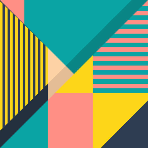 Cover with a geometrical pattern from strips and triangles. A concept of design of a poster or wallpaper website.Fashionable popular card with flat design. Flyers and banner.Minimalism print modernism block shape stock illustrations
