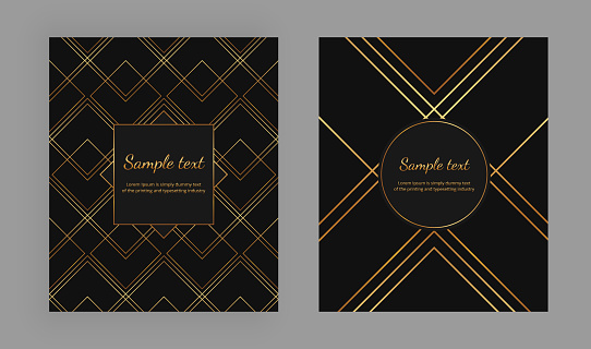 Cover with geometric design and gold lines on the black background. Luxury elegant trendy vector illustration. Template for packaging, banner, card, flyer, invitation, party, print advertising