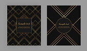 istock Cover with geometric design and gold lines on the black background. Luxury elegant trendy vector illustration. Template for packaging, banner, card, flyer, invitation, party, print advertising 1158589905