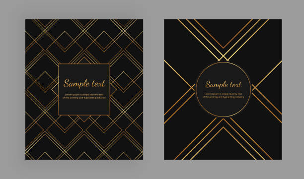 Cover with geometric design and gold lines on the black background. Luxury elegant trendy vector illustration. Template for packaging, banner, card, flyer, invitation, party, print advertising Cover with geometric design and gold lines on the black background. Luxury elegant trendy vector illustration. Template for packaging, banner, card, flyer, invitation, party, print advertising two dimensional shape stock illustrations