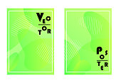 Cover with gradient fluid elements. Two abstract modern vector templates of flyers in bright lime color. A4 format.