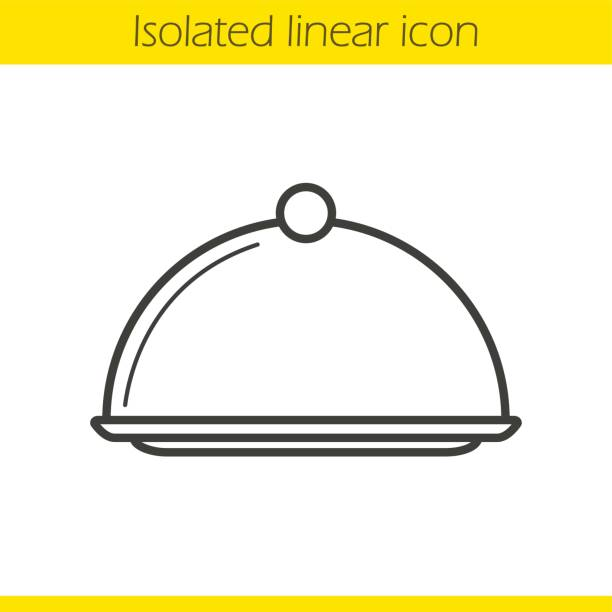 Covered dish icon Covered dish linear icon. Restaurant food serving dish platter with lid. Thin line. Vector serving dish stock illustrations