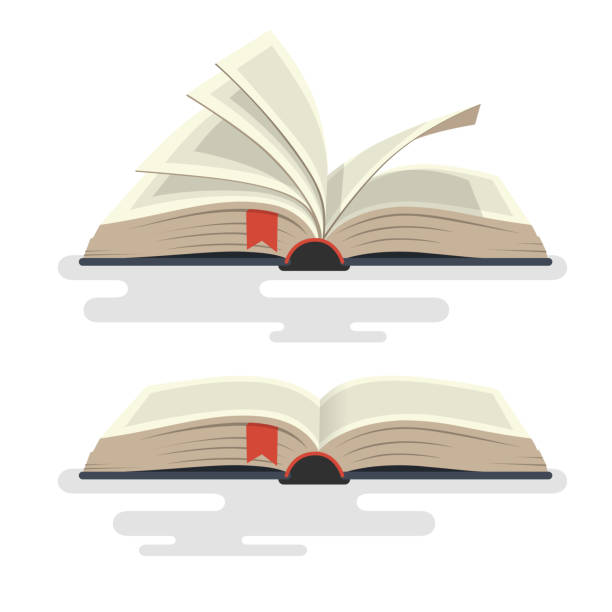 Covered opened book with pages. Vector illustration. encyclopaedia stock illustrations
