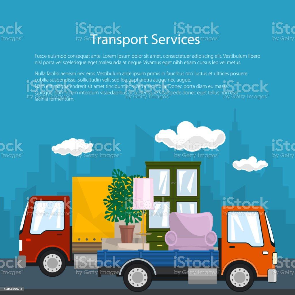 Ilustración de Carro Cubierto Y Camiones Con Muebles Cartel y más ...