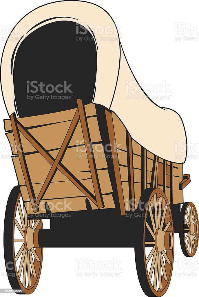 royalty free covered wagon clip art vector images illustrations rh istockphoto com  pioneer wagon wheel clipart