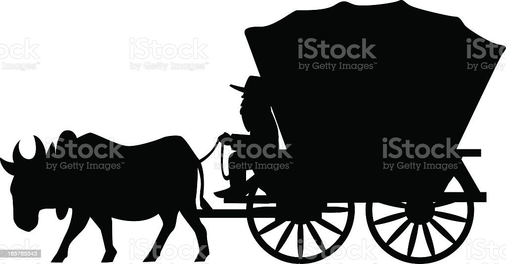black and white covered wagon. covered wagon vector art illustration black and white