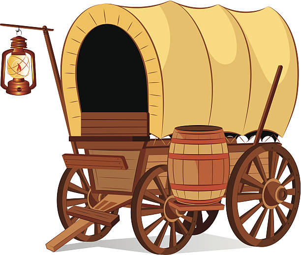 Antique wooden covered wagon clipart. Commercial use GIF, JPG, PNG, EPS,  SVG clipart # 372145   Graphics Factory