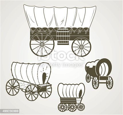 Clip art collection of various covered wagons