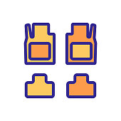 covering car mats with thrust bearings icon vector. covering car mats with thrust bearings sign. color symbol illustration