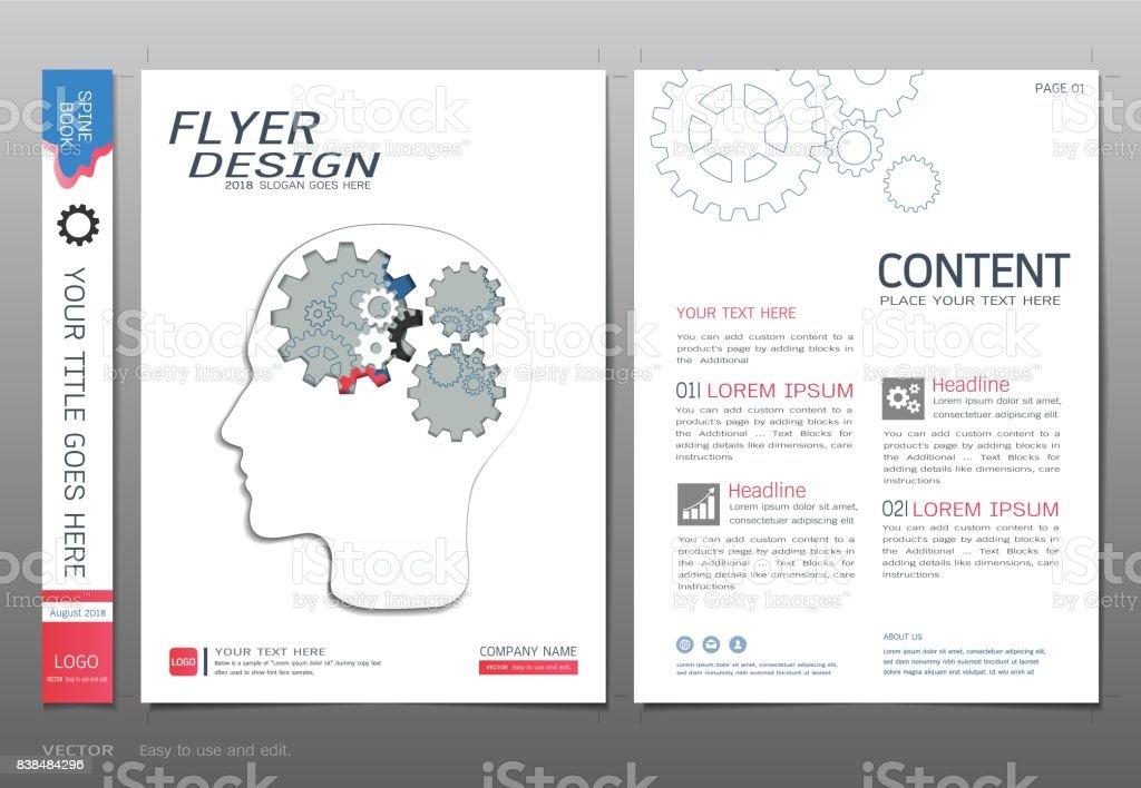 Cover Buch Design Vorlage Vektor Zahnräder Info Grafische Konzepte ...