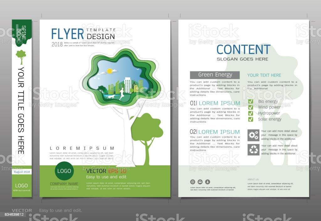 Cover Buch Design Vorlage Vektor Grüne Energiekonzept Verwendung Für ...