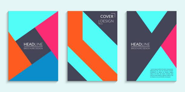 bildbanksillustrationer, clip art samt tecknat material och ikoner med täcker designuppsättning med geometriska mönster. abstrakta broschyr cover layout. vektorillustration. - konststilar