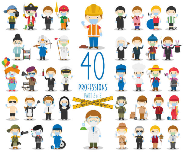 covid 19 health emergency special edition: set of 40 different professions with surgical masks and latex gloves in cartoon style.part 2 - essential workers stock illustrations