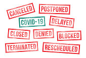istock Covid 19 Rubber Stamps Canceled Postponed Delayed Closed 1213563840