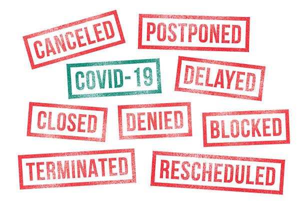 covid 19 gumowe znaczki anulowane odroczone opóźnione zamknięte - pieczęć gumowa stock illustrations