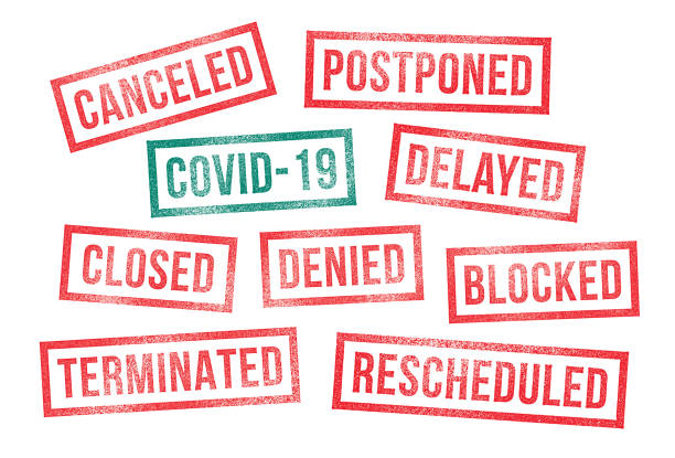 Covid 19 Rubber Stamps Canceled Postponed Delayed Closed vector art illustration