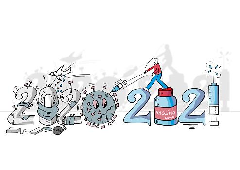 Covid Diagram Vaccine 2021, white fund