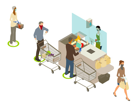 Covid grocery checkout illustration