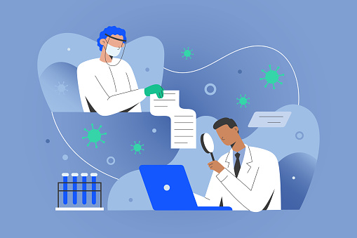 Covid research concept, medical doctors sharing data with scientisists working on antiviral coronavirus remedy, developing vaccine. Medical doctor in gown in laboratory using computer.