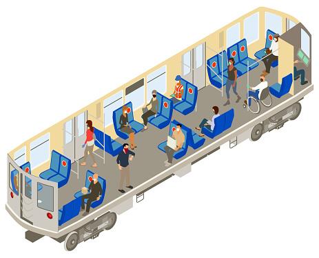 Covid subway cutaway illustration