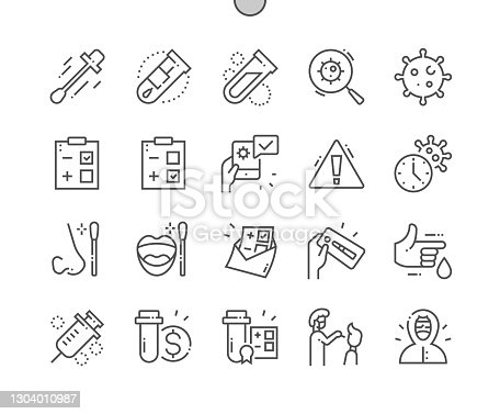 istock Covid Test. COVID-19 Nasal swab laboratory test. Negative and positive test result by using rapid test device for corona virus. Pixel Perfect Vector Thin Line Icons. Simple Minimal Pictogram 1304010987