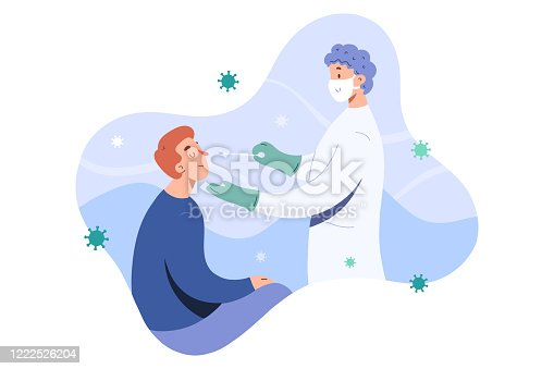 Covid test, doctor collects nose mucus by swab sample for covid-19 infection, patient being tested, lab analysis, medical checkup, flat cartoon vector illustration, friendly doctor in face mask