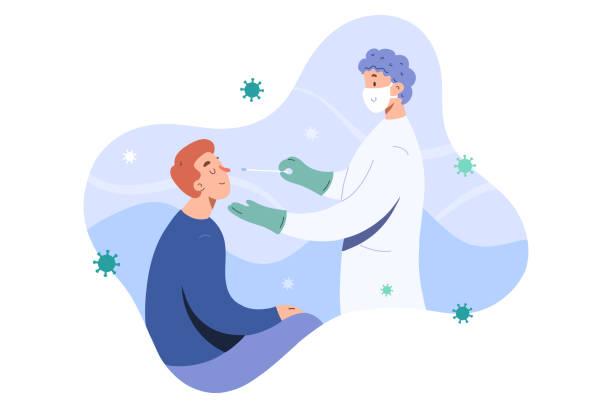 bildbanksillustrationer, clip art samt tecknat material och ikoner med covid test, läkare samlar näsa slem av kompress prov för covid-19 infektion, patienten testas, lab analys, medicinsk kontroll, platt tecknad vektor illustration, vänlig läkare i ansiktsmask - corona test