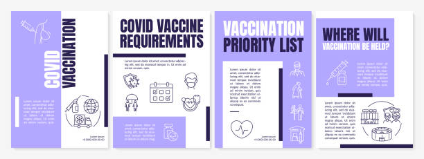 Covid vaccination brochure template Covid vaccination brochure template. Children and adults immunization. Flyer, booklet, leaflet print, cover design with linear icons. Vector layouts for magazines, annual reports, advertising posters covid 19 vaccine stock illustrations