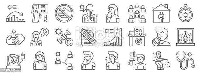 istock covid virus pandemic line icons. linear set. quality vector line set such as stethoscope, fever, sneeze, patient, do not touch, mutation, stopwatch, sneeze, thermometer 1255075149