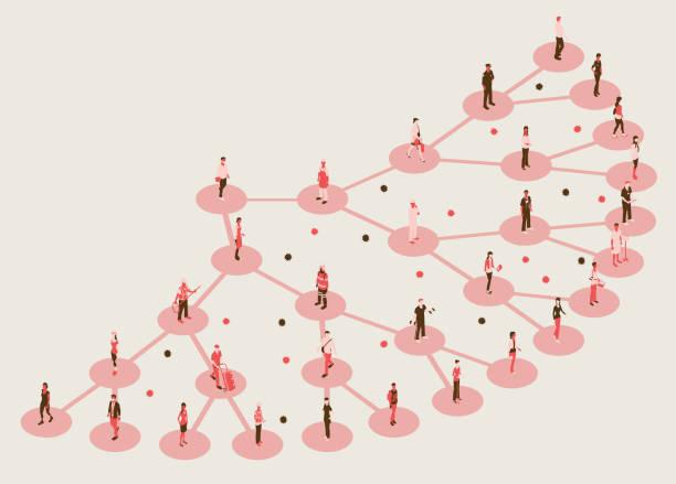 Covid virus transmission illustration vector art illustration