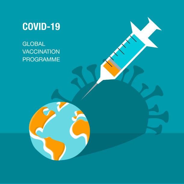 Covid-10 global vaccination plan vector art illustration