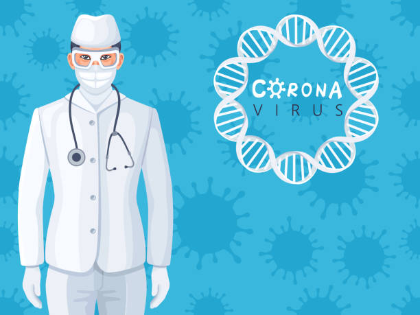 Covid-19 and virus protection vector art illustration