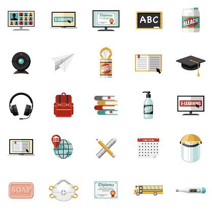 Covid-19 Back to School Icon Set