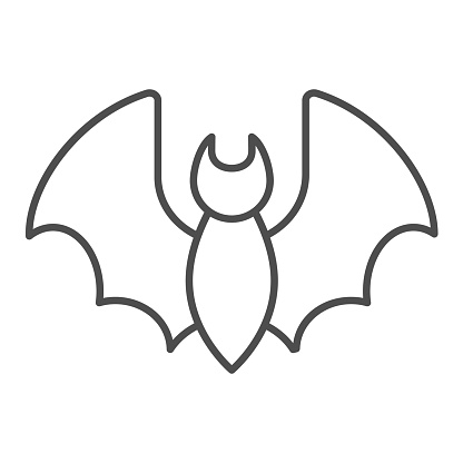 Covid-19 bat thin line icon. Coronavirus infection spread symbol outline style pictogram on white background. Contagious small wild animal sign for mobile concept and web design. Vector graphics.