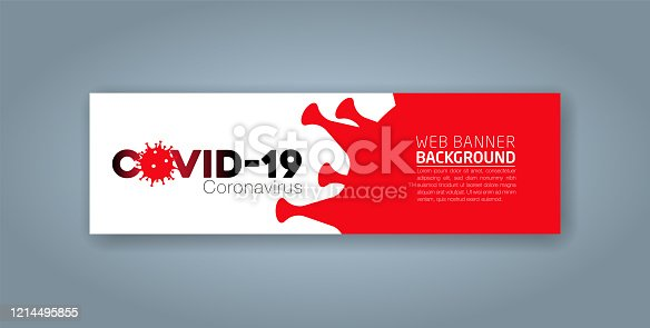 istock Covid-19 Coronavirus concept inscription typography design logo, Contagious diseases of the characters when exposed to a virus, dangerous virus vector illustration, web banner design 1214495855