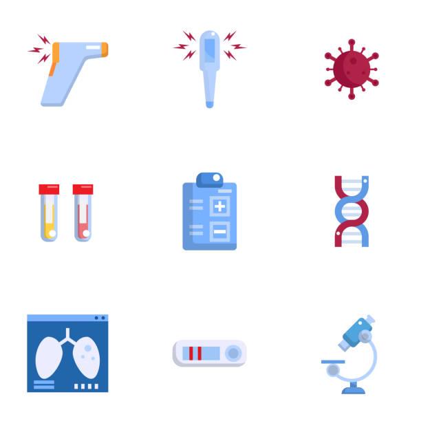 covid-19 coronavirus detect method icons set vector illustration flat design vector art illustration