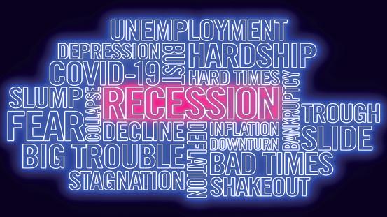A Covid-19 coronavirus pandemic recession neon word cloud vector illustration isolated stock illustration.